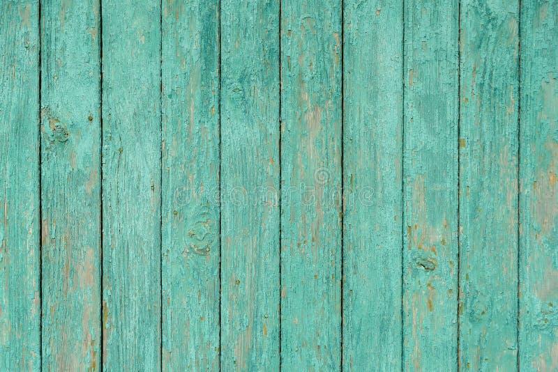 Panneaux en bois de fond vert clair de texture vieux avec la peinture d'épluchage photographie stock