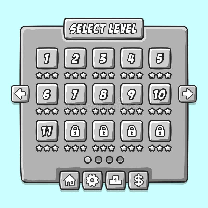 Panneaux en pierre d'ui d'interface de niveau de menu de jeu illustration stock
