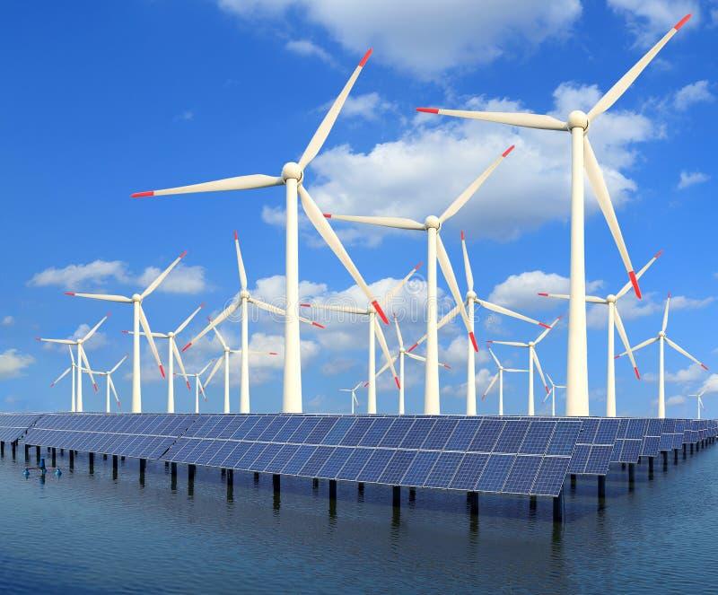 Panneaux et turbine de vent à énergie solaire photographie stock libre de droits