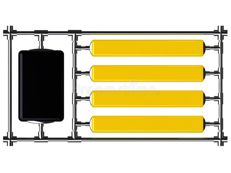 Panneaux indicateurs jaunes et noirs en acier à une trame illustration libre de droits