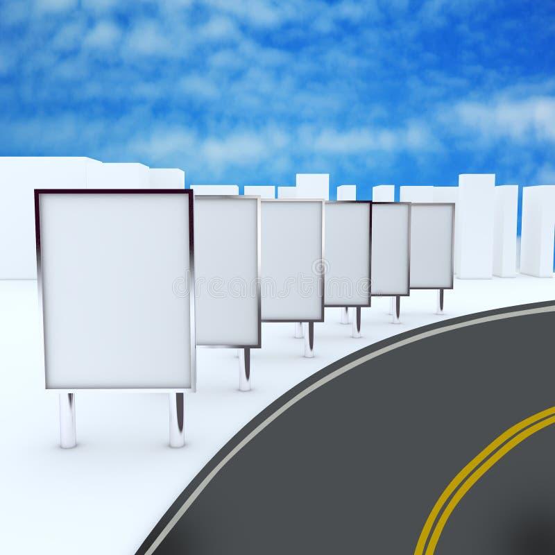 Panneaux-réclame sur la route illustration stock