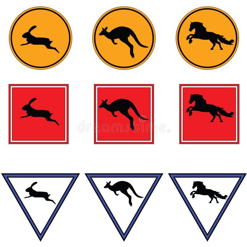 Panneaux routiers avec le kangourou, le cheval et le lapin trame illustration libre de droits