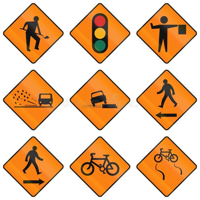 Panneaux routiers d'avertissement provisoires en Irlande illustration de vecteur