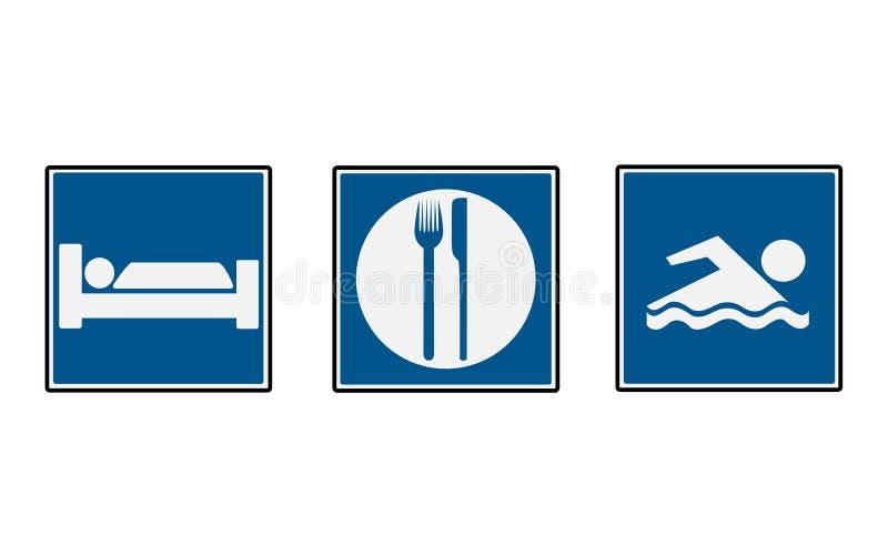 3 panneaux routiers d'hôtel illustration de vecteur