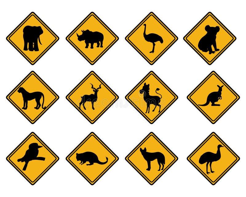 Panneaux routiers de faune Poteau de signalisation animal illustration stock