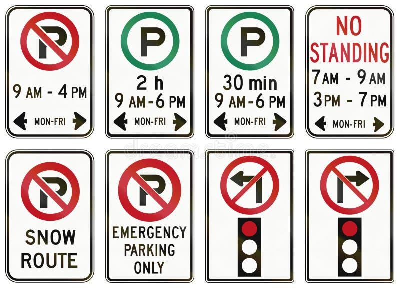 Panneaux routiers de réglementation dans Ontario - Canada illustration libre de droits