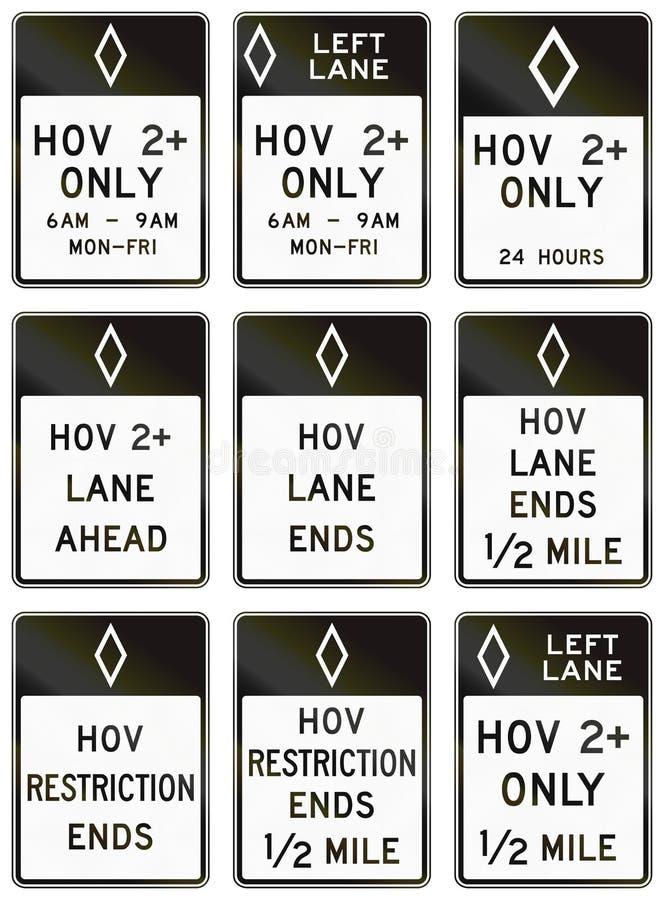 Panneaux routiers de réglementation des Etats-Unis MUTCD illustration stock