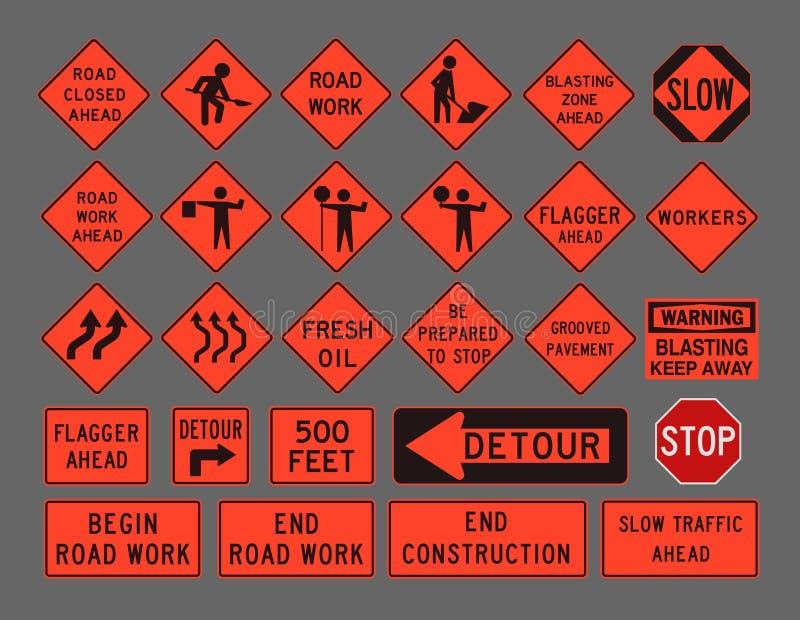 Panneaux routiers de travailleurs illustration de vecteur