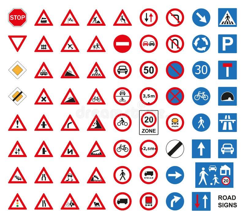 Panneaux routiers du trafic réglés sur le blanc illustration libre de droits