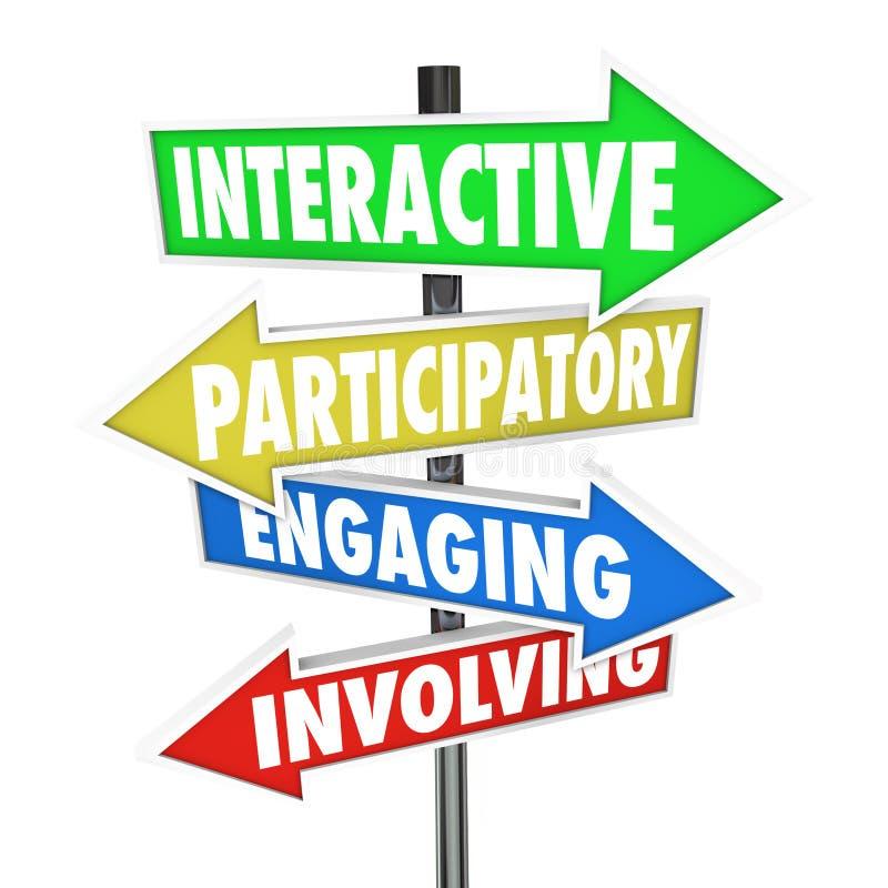 Panneaux routiers impliquants s'engageants participatoires interactifs de flèche illustration libre de droits