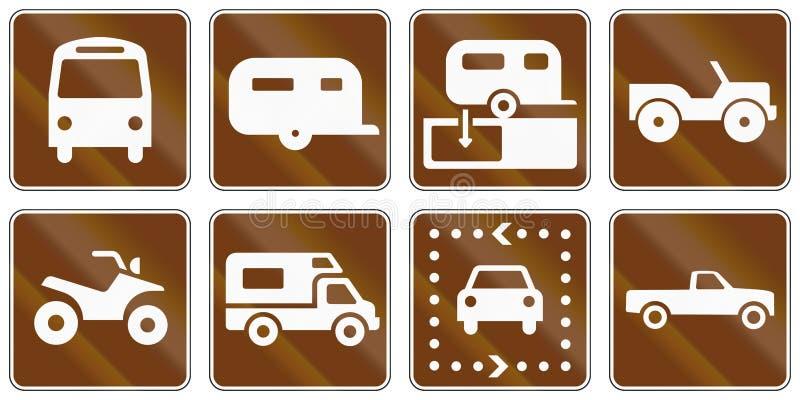 Panneaux routiers informationnels des Etats-Unis MUTCD illustration libre de droits