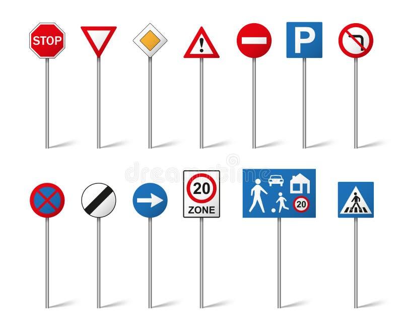 Panneaux routiers réglés d'isolement sur le fond blanc illustration libre de droits