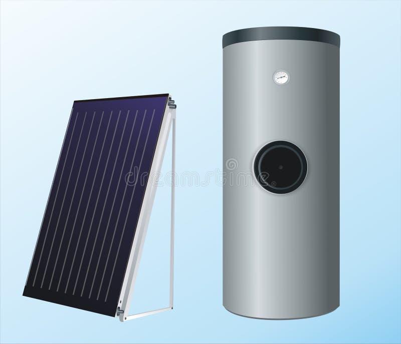 Panneaux solaires à la chaudière illustration libre de droits