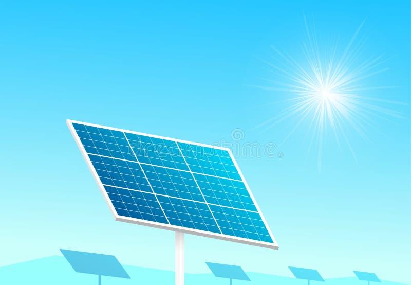 Panneaux solaires dans la ferme avec la lumière de ciel bleu et de soleil illustration stock