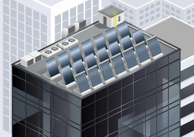 Panneaux solaires sur le toit illustration libre de droits