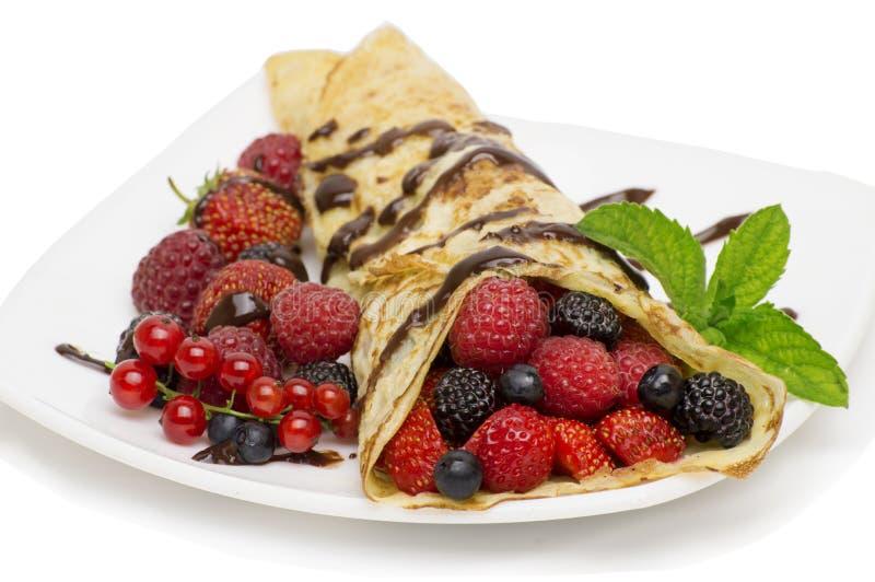 Pannekoek met vruchten royalty-vrije stock afbeelding