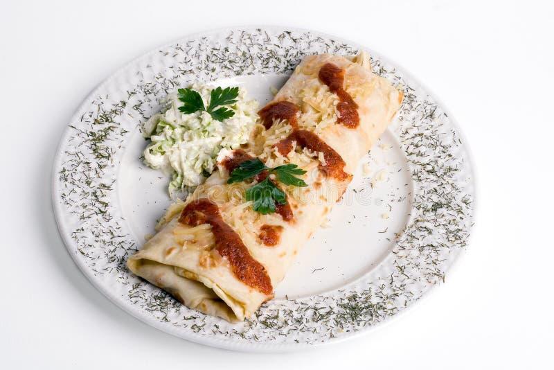 Pannekoek/tortilla/burrito o stock foto's