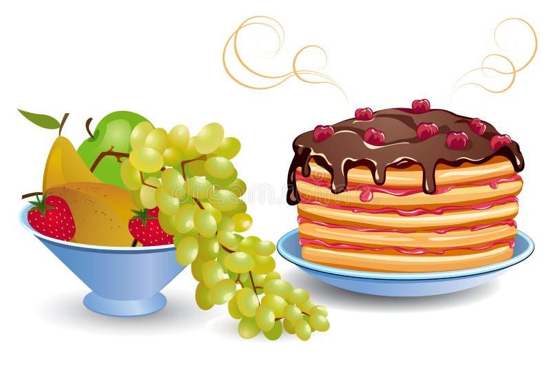 Pannekoeken en vruchten stock illustratie