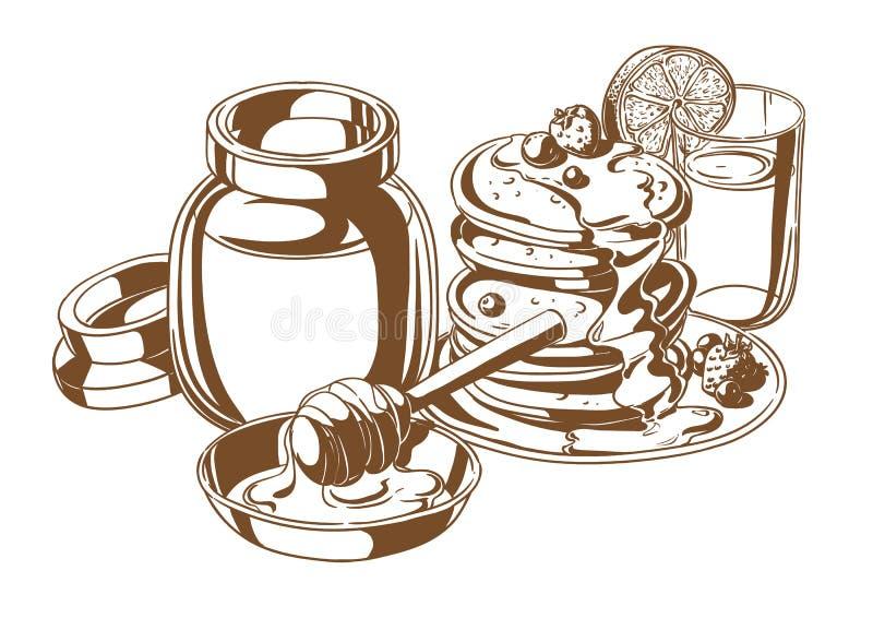 Pannekoeken met honing en fruit vector illustratie
