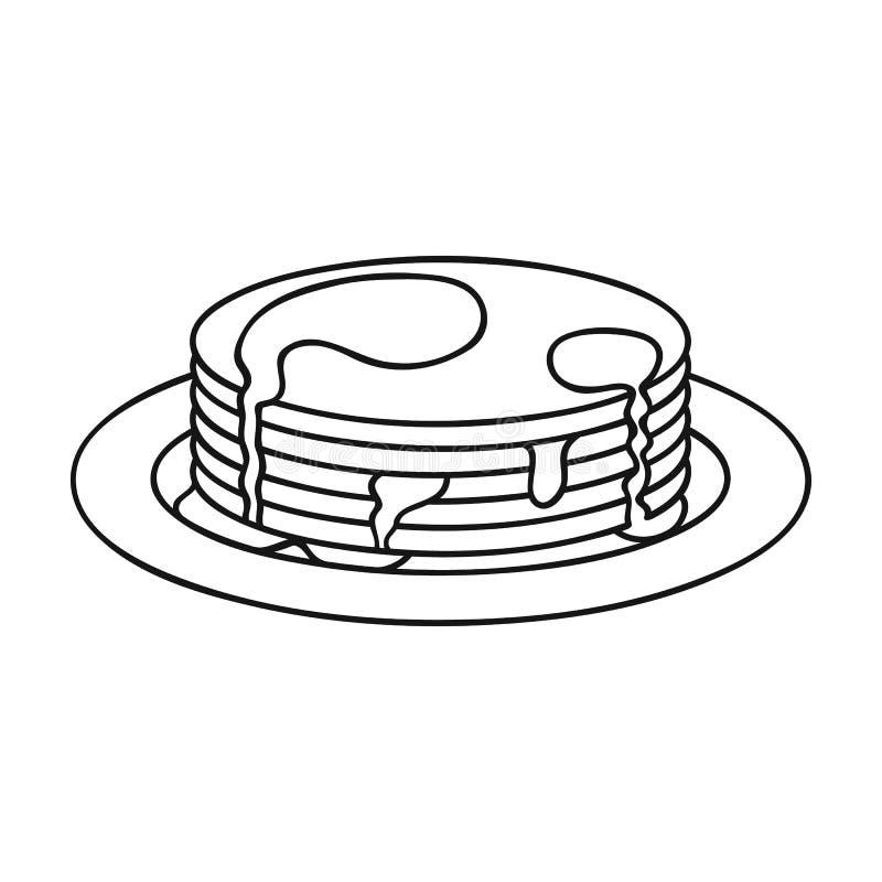 Pannekoeken met honingspictogram in overzichtsstijl op witte achtergrond wordt geïsoleerd die vector illustratie