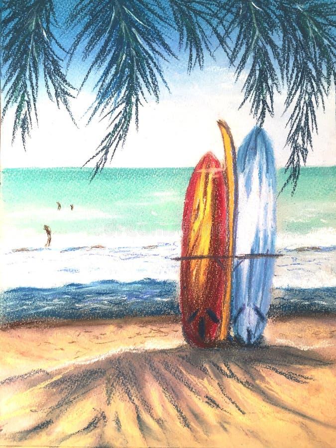 Pannelli da surf sulla spiaggia di Sandy Smeriglio Isola Paradise con palme Concetto di vacanza Simbolo grafico illustrazione vettoriale