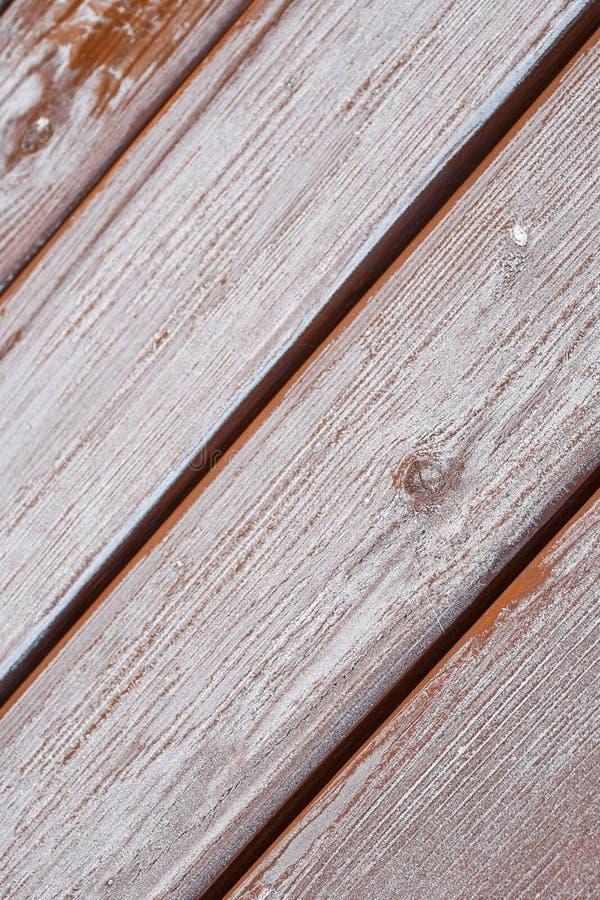 Pannelli di legno coperti di gelo immagini stock