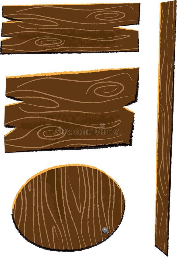 Pannelli di legno e l'illustrazione dei bambini delle insegne royalty illustrazione gratis
