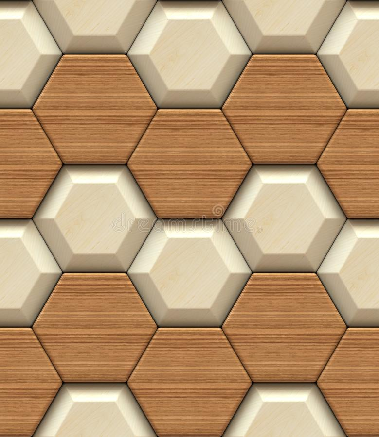 Pannelli di legno di esagono 3d di progettazione della parete Alta qualità senza cuciture royalty illustrazione gratis