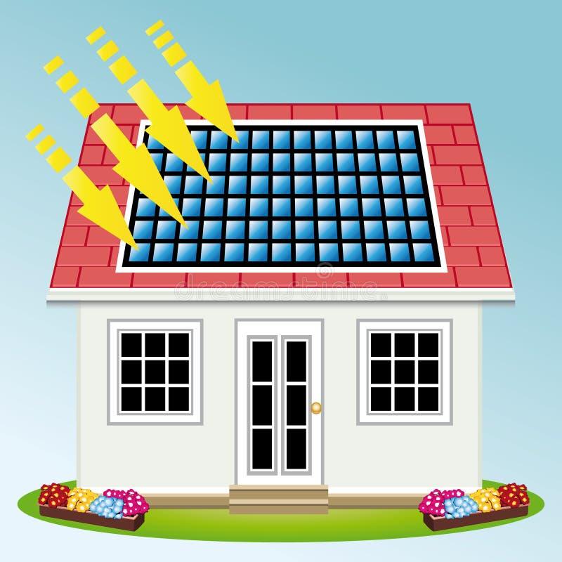 Pannelli solari fotovoltaici sul tetto di una casa royalty illustrazione gratis