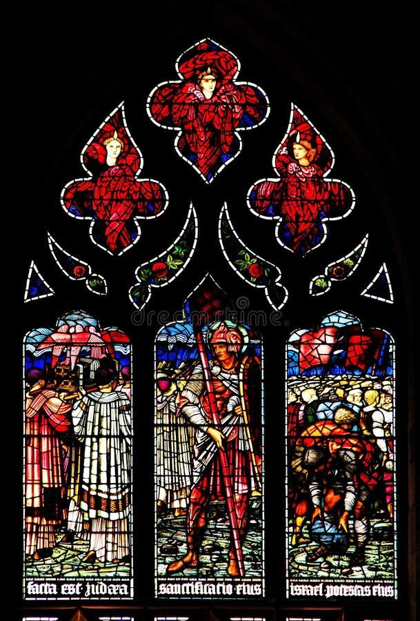 Pannello Colourful della finestra di vetro macchiato della rosa a Edimburgo immagine stock