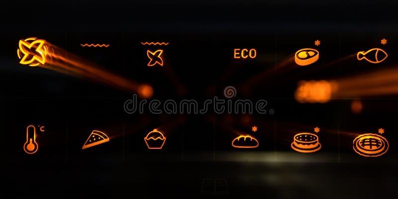 Pannello a comando a tocco di un forno moderno con i modi operativi Effetto dello zoom fotografie stock libere da diritti