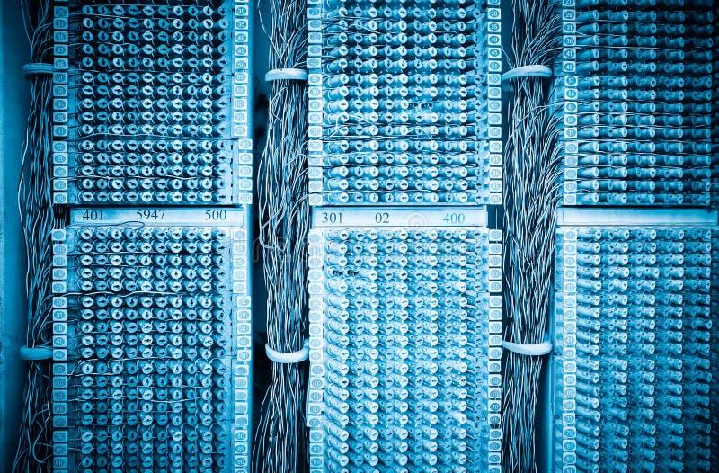 Pannello dei cavi di telefono fotografia stock