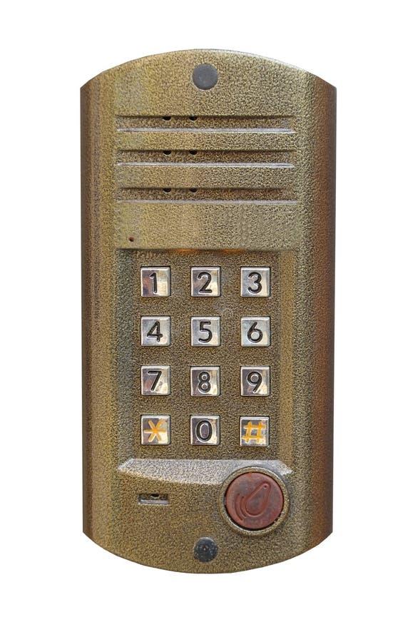 Pannello del metallo del citofono isolato su bianco fotografie stock libere da diritti