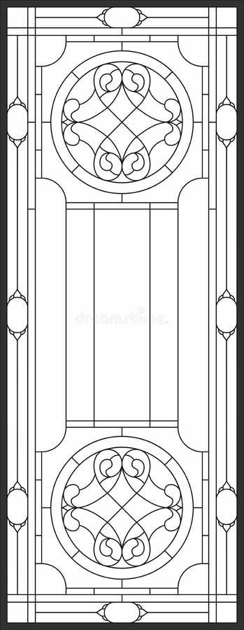 Pannello del vetro macchiato in una struttura rettangolare, in una disposizione floreale astratta dei germogli e nelle foglie nel royalty illustrazione gratis