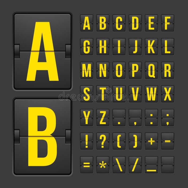 Pannello di alfabeto delle lettere e di simboli del tabellone segnapunti illustrazione di stock