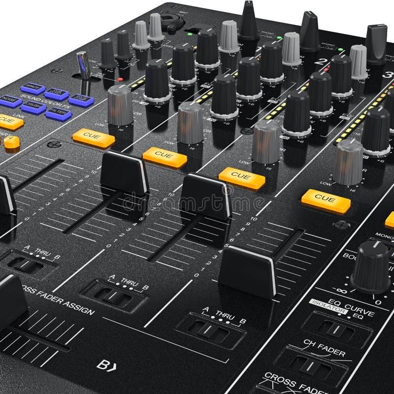 Pannello di controllo del miscelatore del DJ, vista vicina illustrazione di stock