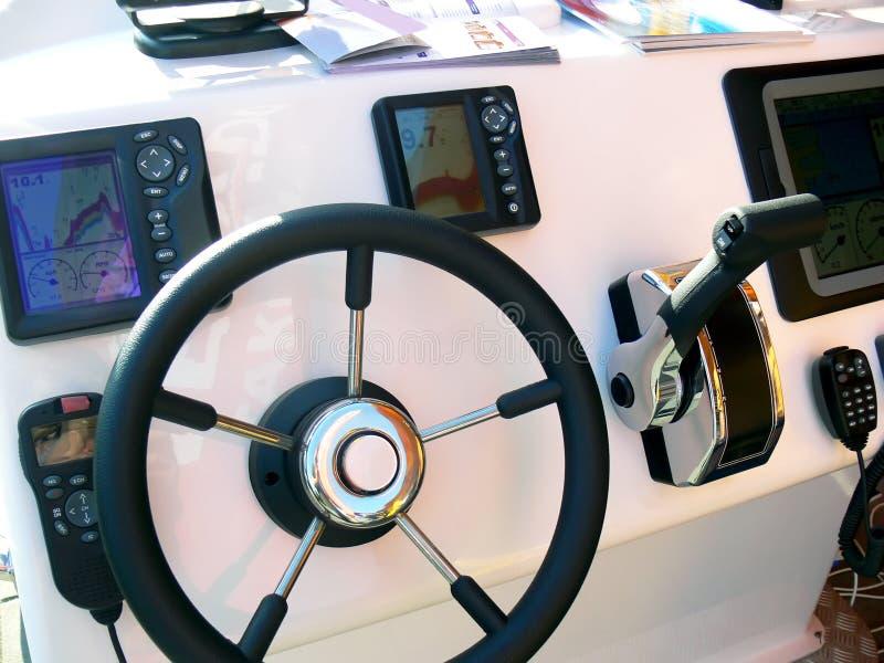 Pannello di controllo dell'imbarcazione a motore fotografie stock