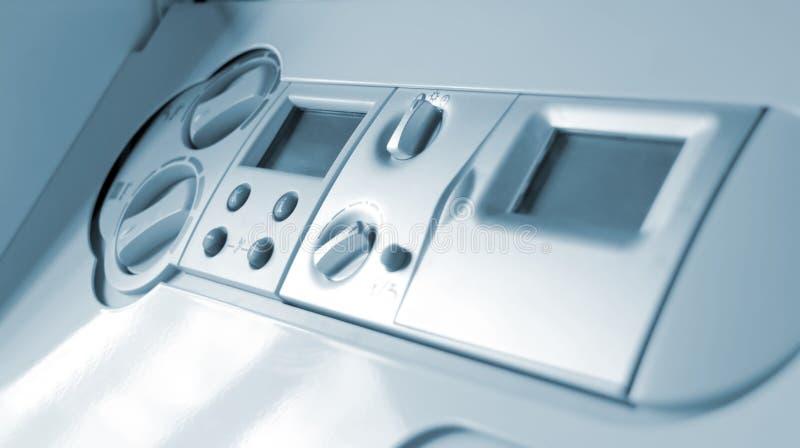Pannello di controllo della caldaia di gas fotografia stock