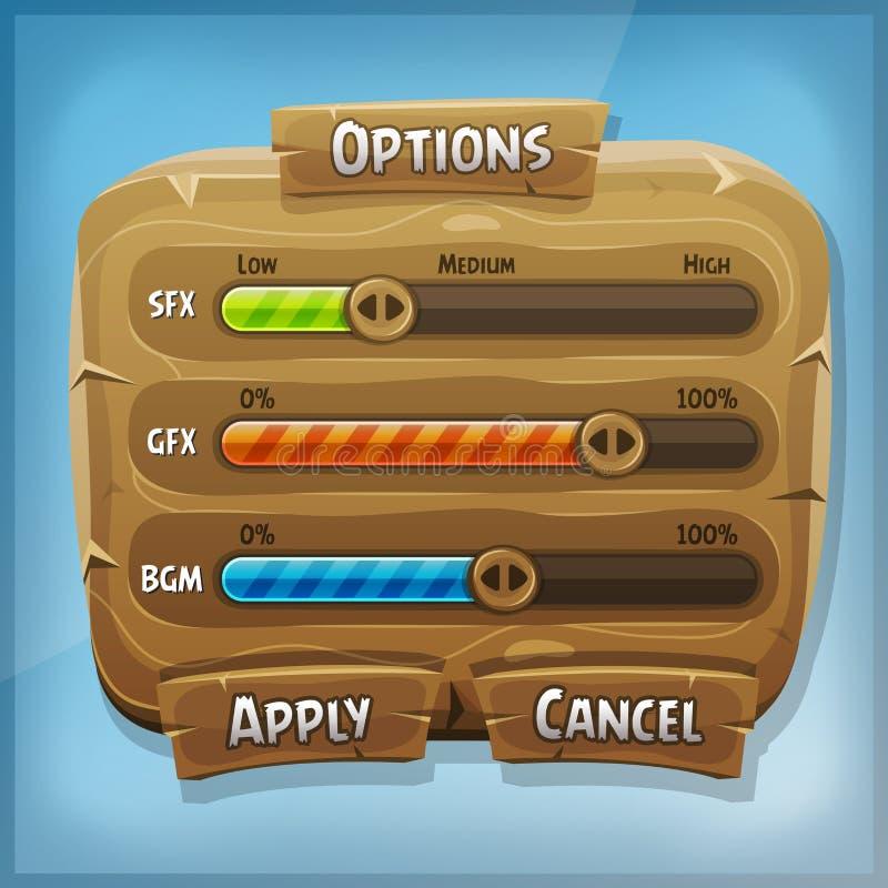Pannello di controllo di legno del fumetto per il gioco di Ui illustrazione di stock