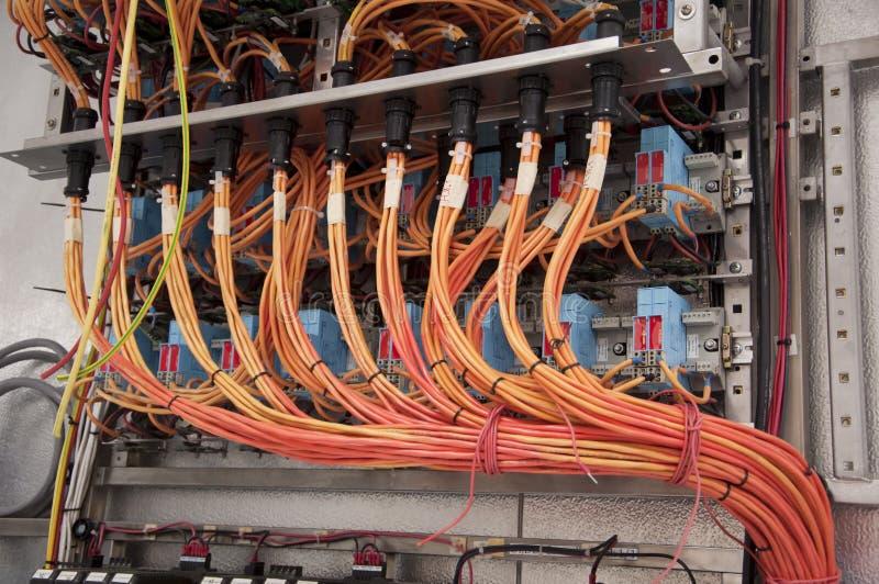 Pannello di controllo elettrico dei collegamenti fotografia stock
