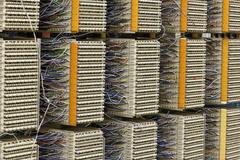 Pannello di distribuzione via cavo di scambio di telefono immagine stock
