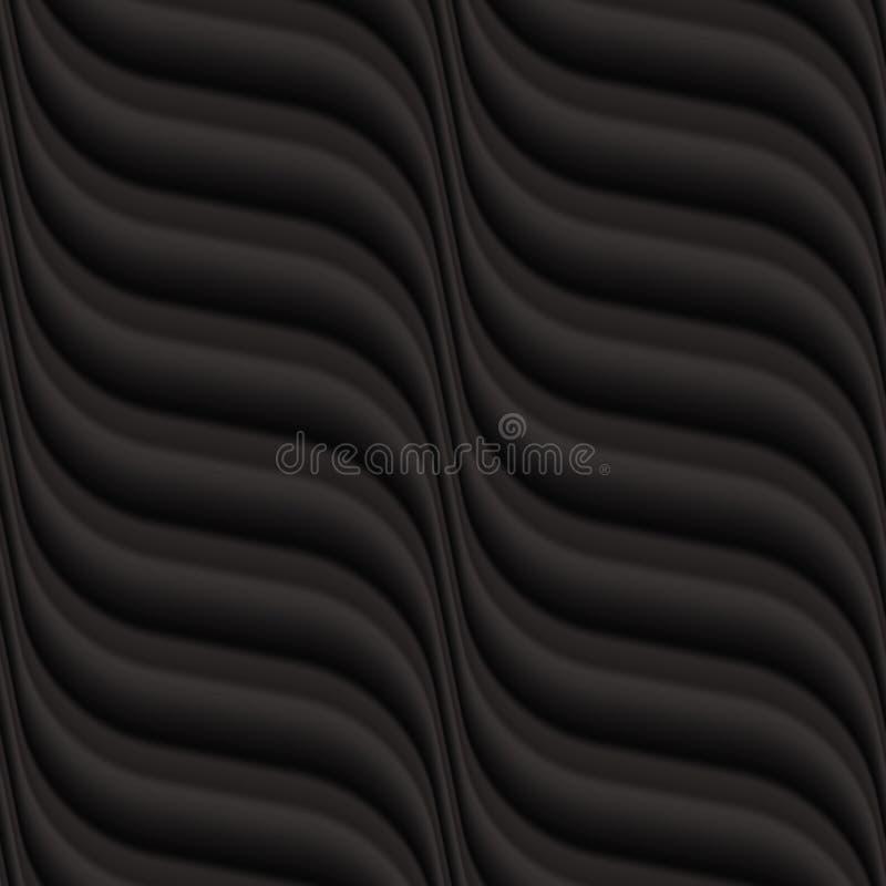 Pannello senza cuciture strutturato del fondo dell'onda del nero di vettore illustrazione di stock