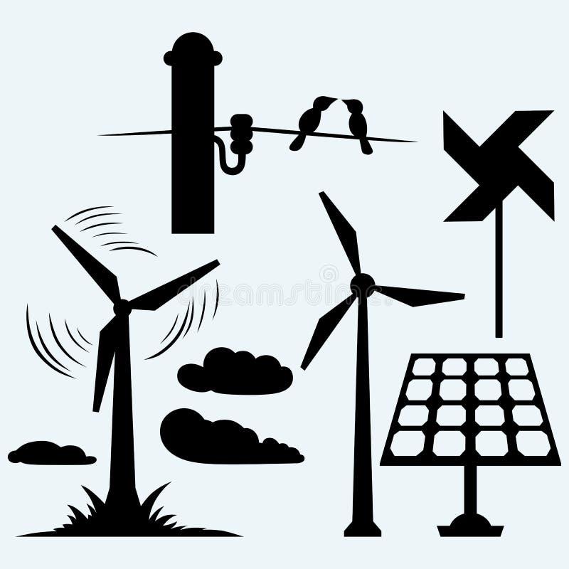 Pannello Solare Disegno Zinc : Pannello solare e mulino a vento cavi su un palo