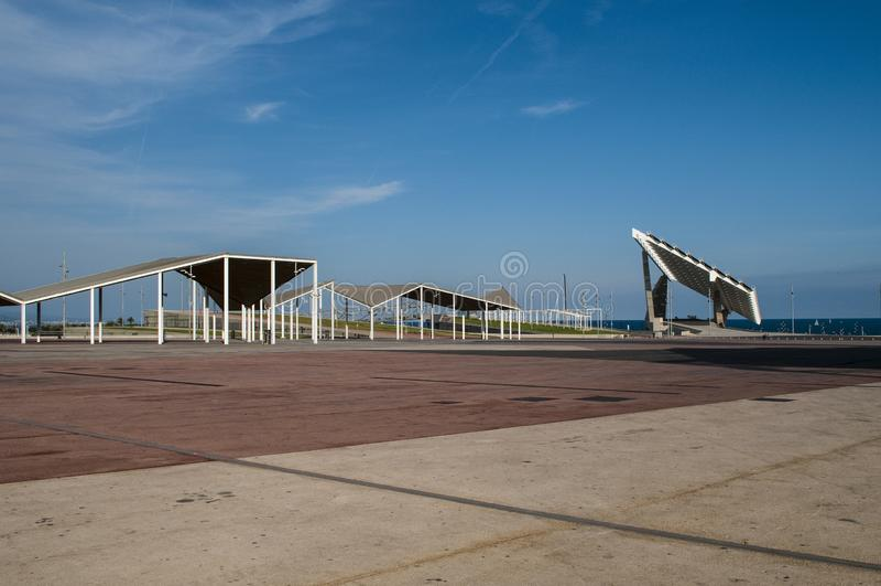 Pannello solare gigante, Parc del Forum, Barcellona, Catalogna, Spagna fotografia stock libera da diritti