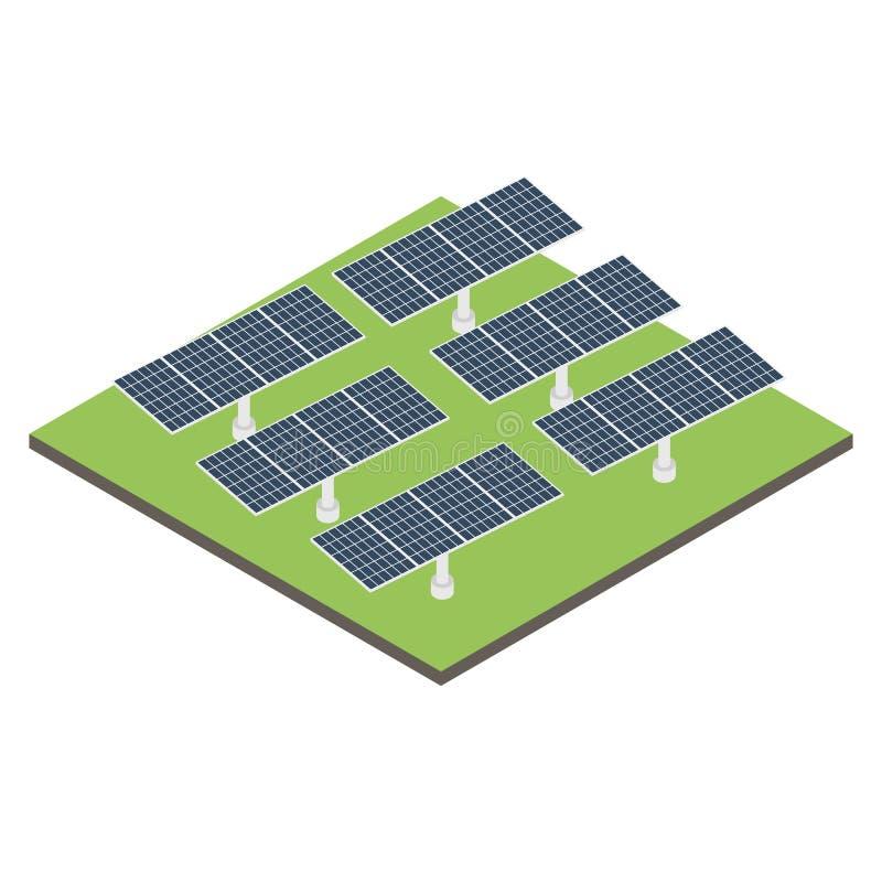 Pannello solare isometrico dell'icona immagini stock