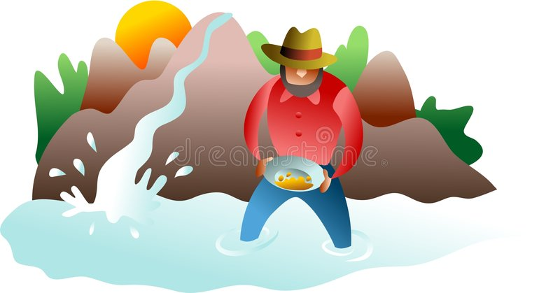Panning for gold vector illustration