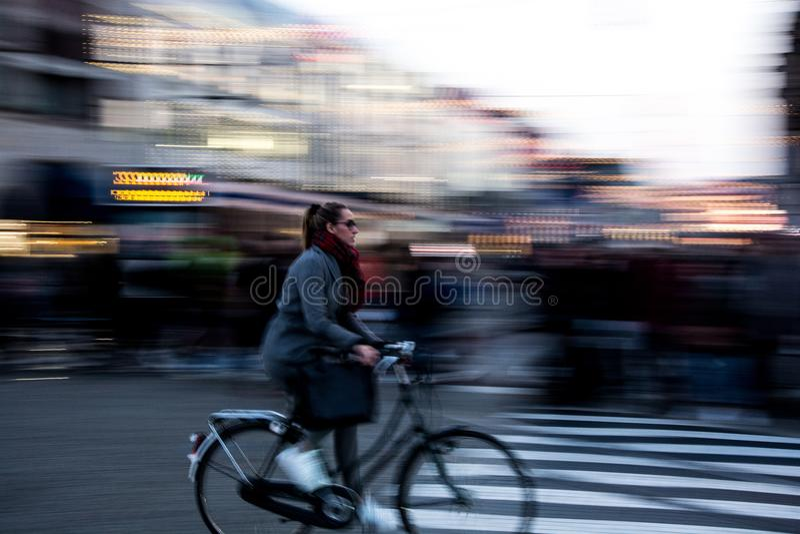 Biking in Amsterdam stock photos