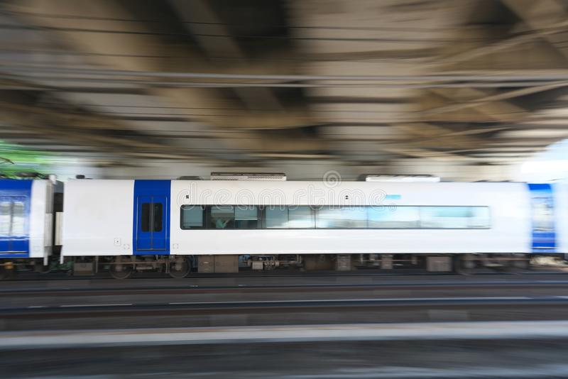 Panning of a private railway train. Aichi,Japan-May 14, 2018: Panning of a private railway train recorded near JR Atsuta station stock image