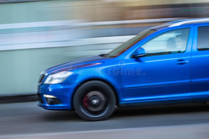 Panning shot of Skoda Octavia. With czech plate in centre of Prague stock image