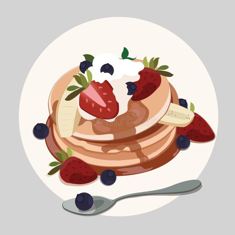 Pannkaka med jordgubben, blåbäret och lönnsirap stock illustrationer